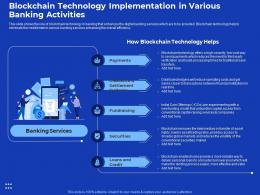 Blockchain Technology Implementation Process Improvement In Banking Sector Ppt Model
