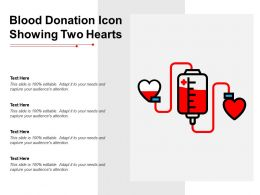 Blood Donation Icon Showing Two Hearts