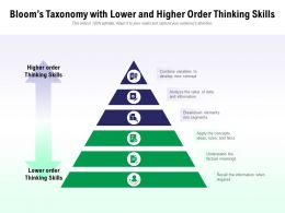 Blooms Taxonomy With Lower And Higher Order Thinking Skills