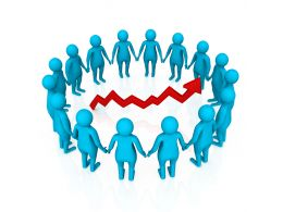 Blue 3d Peoples Making Circle With Red Growth Arrow Stock Photo