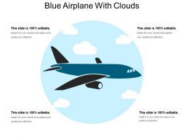 Blue Airplane With Clouds
