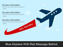 Blue Airplane With Red Message Behind