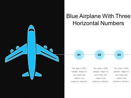 Blue Airplane With Three Horizontal Numbers
