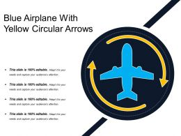 Blue Airplane With Yellow Circular Arrows