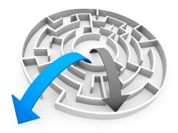 Blue And Black Arrows Coming Out Of Maze Depicting Success Stock Photo