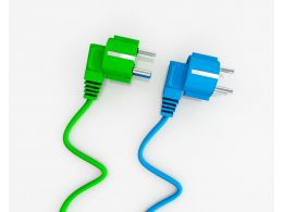 Blue And Green Electricity Plugs On White Background Stock Photo