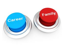 Blue And Red Buttons On White Background Shows Career And Family Stock Photo