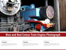 Blue And Red Colour Train Engine Photograph