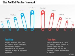 Blue And Red Pins For Teamwork Flat Powerpoint Design