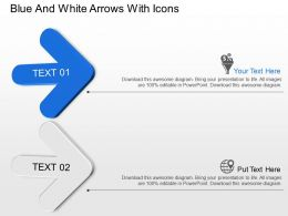 Blue And White Arrows With Icons Powerpoint Template Slide