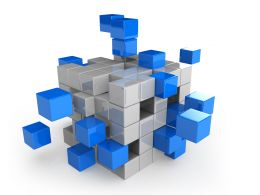 Blue And White Cubes For Process Flow Stock Photo