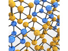 Blue And Yellow Molecular Structure For Material Stock Photo