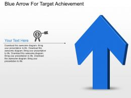 Blue Arrow For Target Achievement Powerpoint Template Slide