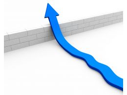 Blue Arrow Jumping Over Concrete Wall For Success Stock Photo