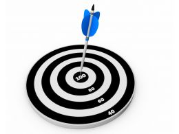 Blue Arrow On Target Board For 100 Percent Goal Achievement Stock Photo