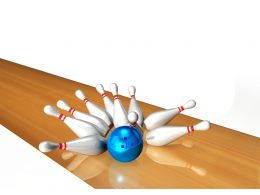 Blue Ball Hits The Pins For Bowling Game Stock Photo