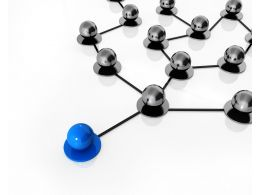 Blue Ball Leading Black Balls Connected Through Network Stock Photo