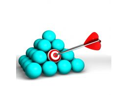 Blue Balls In Pyramid Shape With One Target Ball Hit By Arrow Stock Photo