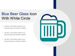 Blue Beer Glass Icon With White Circle
