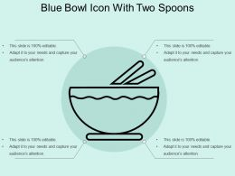Blue Bowl Icon With Two Spoons