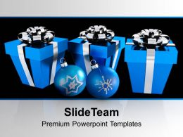 Blue Boxes And Christmas Blue Beautiful PowerPoint Templates PPT Backgrounds For Slides 0113