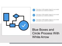 Blue Boxes And Circle Process With White Arrow