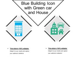 Blue Building Icon With Green Car And House