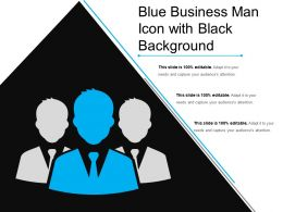 Blue Business Man Icon With Black Background