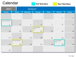 Blue Calendar 2011 Powerpoint Presentation Slides