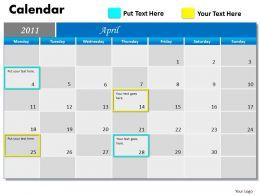 Blue Calendar 2011 PPT 4