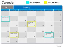 Blue Calendar 2012 Powerpoint Presentation Slides