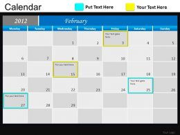 Blue Calendar 2012 Powerpoint Presentation Slides DB