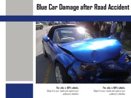 Blue Car Damage After Road Accident