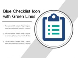 Blue Checklist Icon With Green Lines