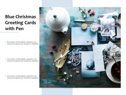 Blue Christmas Greeting Cards With Pen