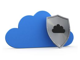 Blue Cloud With Safety Shield For Security Stock Photo