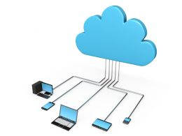 Blue Color Cloud Displaying Cloud Network With Devices Stock Photo