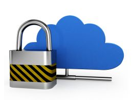 Blue Color Cloud On Stand With Lock For Security Stock Photo