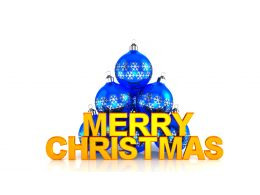 Blue Color Decorative Balls With Merry Christmas Stock Photo