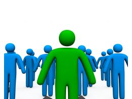 Blue Colored 3D Men With One In Green As Leader Stock Photo
