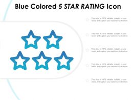 Blue Colored 5 Star Rating Icon