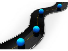 Blue Colored Balls On Road Timeline Stock Photo