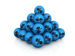 Blue Colored Balls With Discount Symbol Stock Photo