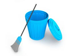 Blue Colored Bin With Broom Stock Photo