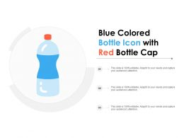 Blue Colored Bottle Icon With Red Bottle Cap