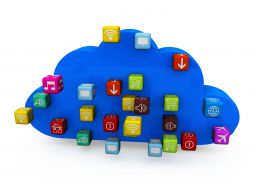 Blue Colored Cloud With Multi Colored Cubes Of Apps Stock Photo