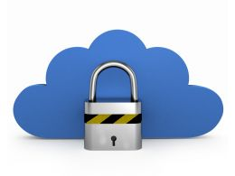 Blue Colored Cloud With Silver Lock Displaying Security Stock Photo