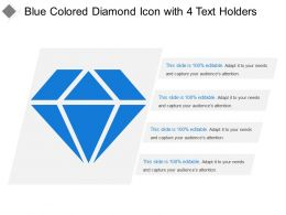 Blue Colored Diamond Icon With 4 Text Holders