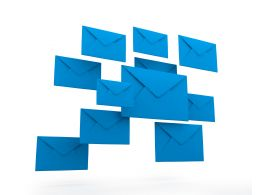 Blue Colored Mail Envelopes With White Background Stock Photo