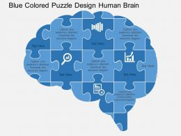 Blue Colored Puzzle Design Human Brain Flat Powerpoint Design